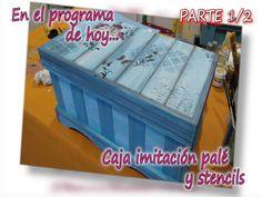 CAJA MADERA CON IMITACION A PALE Y STENCILS 1/2