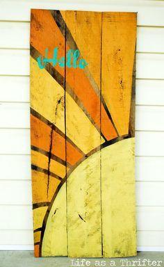 Handpainted Sunburst Wooden Welcome Sign