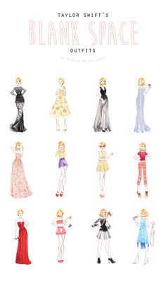 cirquedepapier: Here are all my favourite taylorswift Blank Space's video's favorite outfits ! I hope you'll like them and warm you up, I drew each of them with love :)I was really happy to draw these, after being so obsessed with that video (like I've rarely been before with any other one). I tried to check the stylist's name but couldn'it find it - do you know who did the Blank Space styling ? If you do please tell me :)Now I've got to find another obsession.xxMaëlle Amazing