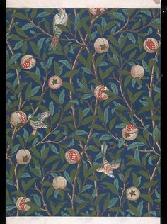Portion of 'Bird and Pomegranate' wallpaper, an all-over design of birds amidst branches of green foliage and pomegranate fruit, some open revealing their seeds, on a dark-blue ground; Print on paper.    Place of Origin    England (printed)    Date    ca. 1955 (printed)    Artist/maker    Morris, William (designer)   Morris & Co. (publisher)   Arthur Sanderson & Sons Ltd. (printer)    Materials and Techniques    Print on paper    Descriptive line    Portion of 'Bird and Pomegranate'…