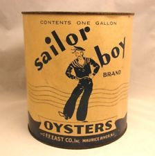 Old Sailor Boy gallon oyster tin can F.F. East Co. Maurice River N.J.