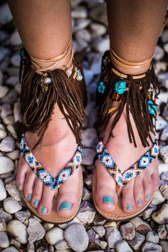 Tie up leather flip flops with suede leather fringes