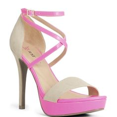 JustFab - Joselyn  Price: $55  Navigate the social season in style in this party-perfect pair. This strappy colorblock sandal boasts a 5 inch heel and a 1 inch platform.