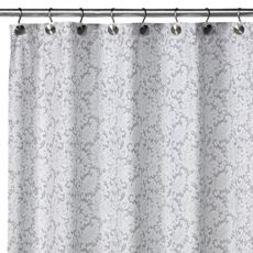 WaterShed® Single Solution™ 2-in-1 Victorian Fabric Shower Curtain - White/Silver - Bed Bath & Beyond