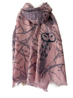 Pink Scarf with Navy Blue Owl Print, Ladies Cotton Blend Owls Wrap, Fair Trade Shawl by purplepossumuk on Etsy https://www.etsy.com/listing/226833242/pink-scarf-with-navy-blue-owl-print