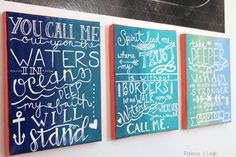   Oceans by Hillsong United   Three Canvas Series   Lyric Painting   Hand Lettering  