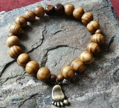 Wooden Bigfoot Footprint Bracelet