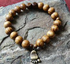 Wooden Bigfoot Footprint Bracelet