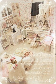 Amazing shabby chic craft room / studio in creams and pinks
