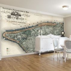 """Swag Paper New York Wall Mural Color: Vintage, Size: 38.4"""" H x 48"""" W"""