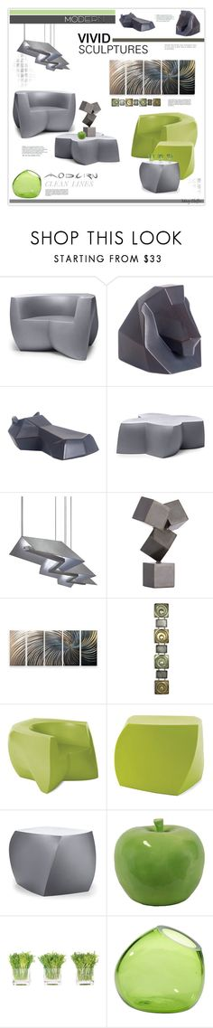 """Vivid Sculptures with Modern Clean Lines"" by mcheffer ❤ liked on Polyvore featuring interior, interiors, interior design, home, home decor, interior decorating, Heller, Tech Lighting, Arteriors and Retrò"