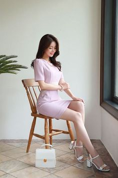 Korean Fashion Trends, Asian Fashion, Fashion Models, Fashion Outfits, Womens Fashion, Casual Outfits, Korean Dress, Slim Fit Dresses, Looks Chic