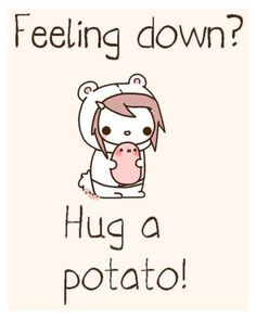 """""""feeling down? hug a potato ."""" by pandaderpienes ❤ liked on Polyvore featuring art"""