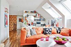 Playful retro-inspired retro home Living Room Orange, Colourful Living Room, Home Living Room, Living Spaces, Orange Sofa, Small Apartment Interior, Space Interiors, Scandinavian Interior Design, Retro Home