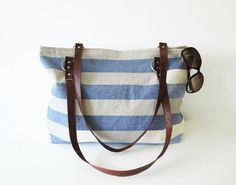 Large Tote bag,Beach bag, Waterproof Canvas, Nautical, Striped , Color of your choice