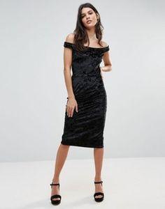 Liquorish Off Shoulder Velvet Pencil Dress