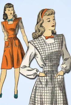 1940s Vintage Du Barry Sewing Pattern 5911 Uncut Misses Jumper Dress Size 16 34B #DuBarry #JumperandBlousePattern