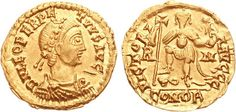 Ricimer was the power behind Western Roman Emperor from 456 to 472.  He was half Suevi and half Visigoth. He was appointed by Avitus as a comes or count of the Empire, and defeated the Vandals in a naval battle. He and his friend Majorian deposed Avitus and Ricimer was appointed magister militum.  Majorian was eventually made Emperor in 457 after the post had been vacant. Ricimer could not control Majorian, so he had Majorian beheaded. (This coin looks a lot like Avitus's).