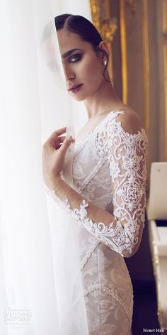 nurit hen 2016 bridal illusion long sleeves off shoulder sweetheart sheath wedding dress (11) elegant zv