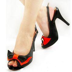 Black and orange bow slingback peeptoe shoe