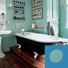 I love this vintage turquoise bathroom. Especially the victorian prints, the apothecary bottles, and the teal beadboard. Bad Inspiration, Bathroom Inspiration, Cottage Style Baths, Turquoise Bathroom, Bad Styling, Bathroom Photos, Bathroom Ideas, Bath Ideas, Bathroom Designs