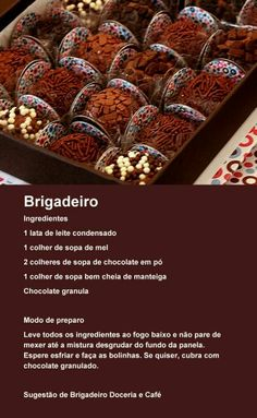 Brigadeiro Love Chocolate, Chocolate World, No Bake Desserts, Delicious Desserts, Food Hacks, Chocolates, Mel, Sweet Recipes, Cake Recipes