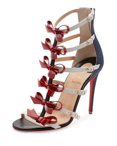 X3DYZ Christian Louboutin Girlystrappi Bow 100mm Red Sole Sandal, Multicolor