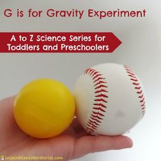 G is for Gravity Experiment – part of the A to Z Science Series for Toddlers and… G is for Gravity Experiment – Teil der Reihe A bis Z Science für Kleinkinder und Vorschulkinder in Inspiration Laboratories Toddlers And Preschoolers, Science For Toddlers, Science Experiments For Preschoolers, Preschool Science Activities, Kindergarten Science, Preschool Lessons, Physical Science, Science Classroom, Science Lessons