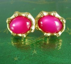 Pink Cranberry Moonglow Cufflinks Vintage Gold bamboo frame Swank Fine Jewelry Designer anniversary sweetheart gift cuff links