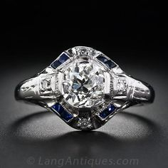 Another dream ring. I have loved this style for as long as I can remember!  1.08 Carat Art Deco Diamond and Sapphire Art Deco Ring