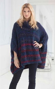 Cooler days ahead We're getting cozy with this Lion Brand Country Penelope Poncho #knit #pattern #acmoore!