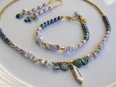Peacock Keshi Pearl Balinese Gold Vermeil Necklace Bracelet Earrings Set by Moonsnail https://www.etsy.com/listing/127362113/peacock-keshi-pearl-necklace-bracelet?ref=shop_home_active_17