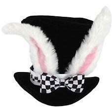 WHITE RABBIT HAT Alice in Wonderland Madhatter Top Hat Costume