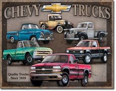 Chevy Truck Tribute Vintage Sign Reproduction, features some of the best loved Chevrolet models from the earliest days of the Chevy Truck lineup. The first Chevrolet trucks went on sale in 1918, the s