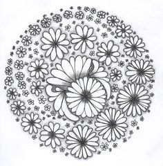 Flower Daisy Abstract Doodle Zentangle Coloring pages colouring adult detailed advanced printable Kleuren voor volwassenen coloriage pour adulte anti-stress