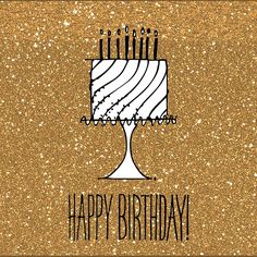 stylish gold glitter cake happy birthday wishes gif animated