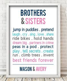 Sibling bedroom - Look at this 'Brothers & Sisters' Forever Personalized Print on zulily today!