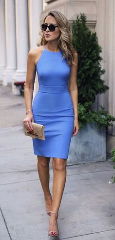 summer outfits  Blue Bodycon Dress + Nude Sandals