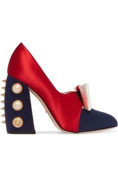 Gucci - Embellished Satin Pumps - Red
