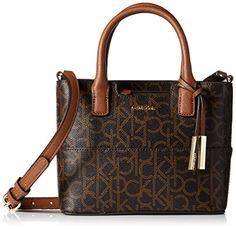 Calvin Klein Signature Mini Bag Cross Body, Brown/Khaki/Luggage Saffiano, One Size ** Check out @