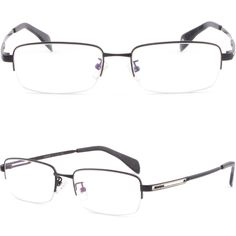 Half Rim Rectanglar Mens Womens Memory Titanium Frame Prescription Glasses Black #Unbranded