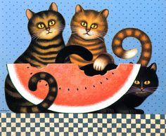 Watermelon kitties, Charles Wysocki.