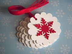 Snowflake tags  Classic Christmas by papertreats on Etsy
