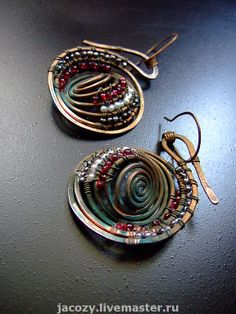 Earrings handmade.  Fair Masters - handmade copper earrings Whirlpool.  Handmade.