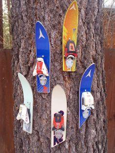 ski tip bottle openers - Repurposed Furniture, Diy Furniture, Handmade Furniture, Rustic Furniture, Outdoor Furniture, Diy Hacks, Ski Lodge Decor, Cadeau Couple, Faux Rock