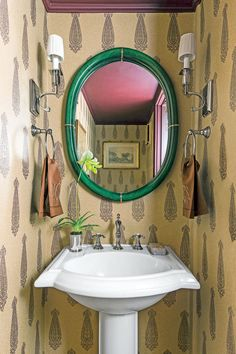 The Powder Room - The Art of Living Small - Southernliving. In the powder room, the deep aubergine ceiling coordinates with the wallpaper.