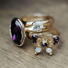 Butterfly Top Of Finger Over Midi Tip Finger Above Knuckle 3PCS Rings #rings #finger #jewelery #gold #women https://seethis.co/9o7YQR/