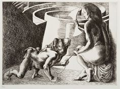 Michael Ayrton (British, As Calf, 1971 (plate 3 from Minotaur Suite) etching edition signed Michael Ayrton (lower right) 15 x 21 inches. Romanticism Artists, Modern Art, Contemporary Art, The Minotaur, Greek And Roman Mythology, Daily Drawing, Art Day, Impressionist, Printmaking