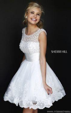 Beaded Scoop Neckline Dress by Sherri Hill