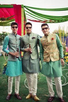 green groom wear or men's wear for friends and brothers of groom kurta pajama waist coat Mens Indian Wear, Mens Ethnic Wear, Indian Groom Wear, Indian Men Fashion, Indian Attire, Wedding Kurta For Men, Wedding Dresses Men Indian, Wedding Dress Men, Wedding Men